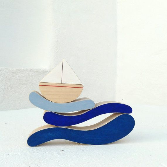 Kids Wooden Toy - Boat and Sea Stacker Toy - Eco Friendly Nautical Kids Room Decor on Etsy, $34.00