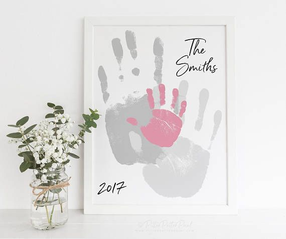Family Art Handprint Alternative Portrait, Custom Home Decor, Living Room Wall Art, Your Actual Hand Prints, 8×10 inches UNFRAMED – Kind basteln