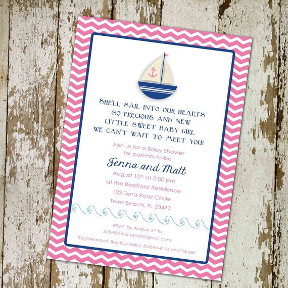baby girl shower invitation nautical sail boat by katiedidesigns, $13.00