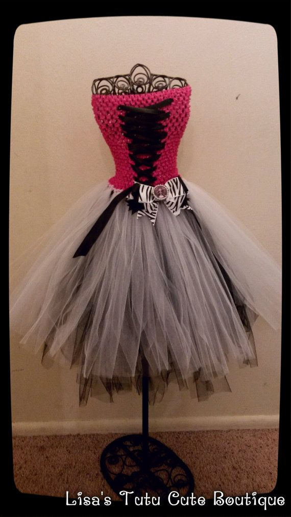 Draculaura themed tutu dress with matching bow. on Etsy, $25.00