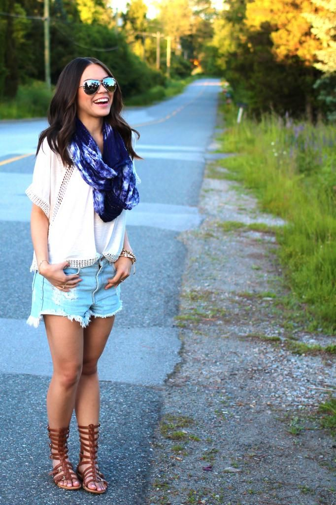 Casual Summer Outfit Idea Cut Off Denim Shorts White