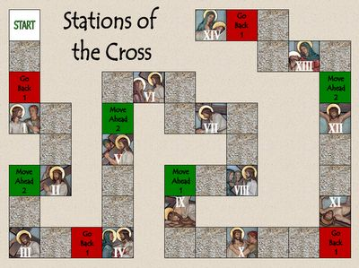 Stations of the Cross File Folder Game- The objective of the game is to go through all 14 Stations of the Cross by answering questions about each station.