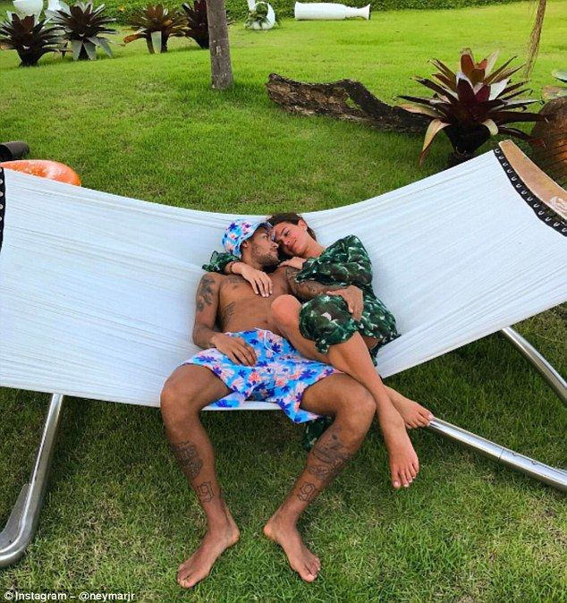 Barcelona striker Neymar posted a picture of him on a hammock with Bruna Marquezine