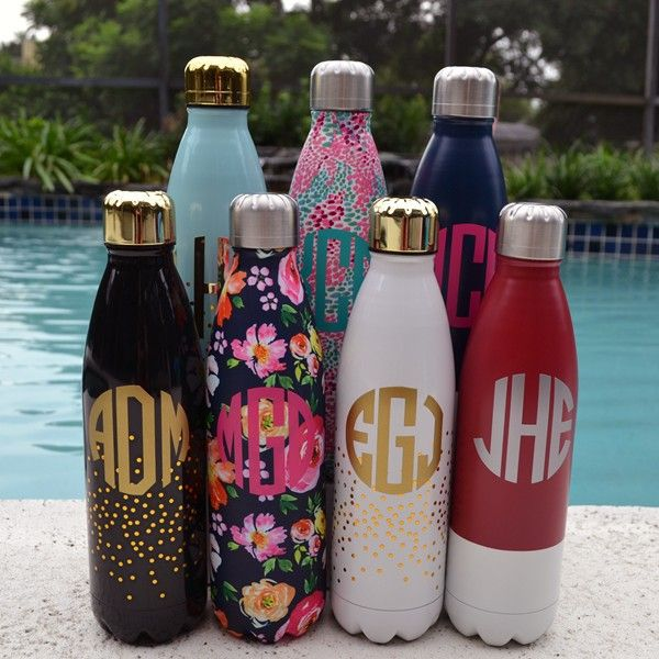 In Stock Now. Monogram Lane  - Love these monogrammed water bottles- (http://www.monogramlane.com/monogram-stainless-steel-water-bottle-lily/)