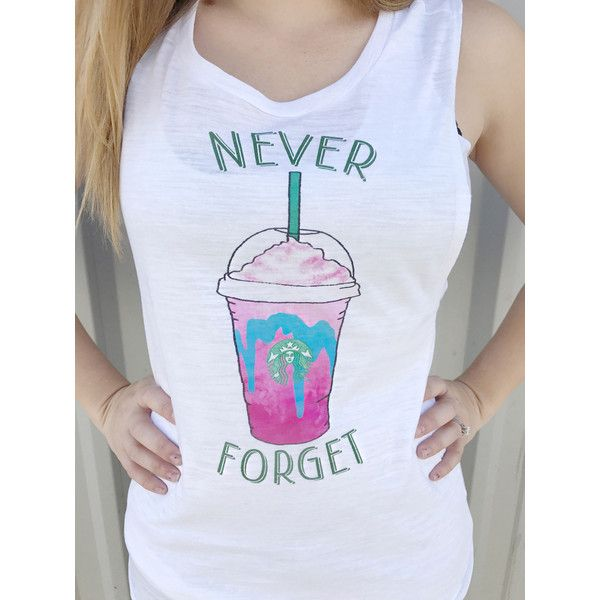 Unicorn Frappicino Never Forget Starbucks Shirt Coffee Tank Top ($18) ❤ liked on Polyvore featuring tops, silver, tanks, women's clothing, unicorn top, long tank tops, shirt top, coffee shirts and unicorn shirt