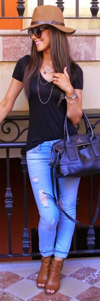 Torn Jeans with Black T-Shirt, Hat, Accessories, Leather Handbag and Brown Boots