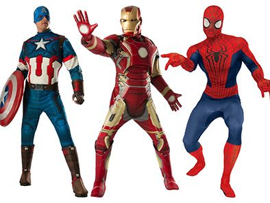 Dress up as your favorite superhero this Halloween with your pick of any of these awesome costumes for guys: Spiderman, Batman, Iron Man, Captain America, Superman, the Flash, or Green Lantern!