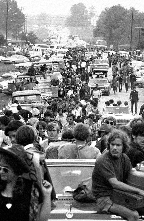 Bethel, NY, August 16, 1969: Traffic at a standstill as people try to get to the Woodstock Music Festival.