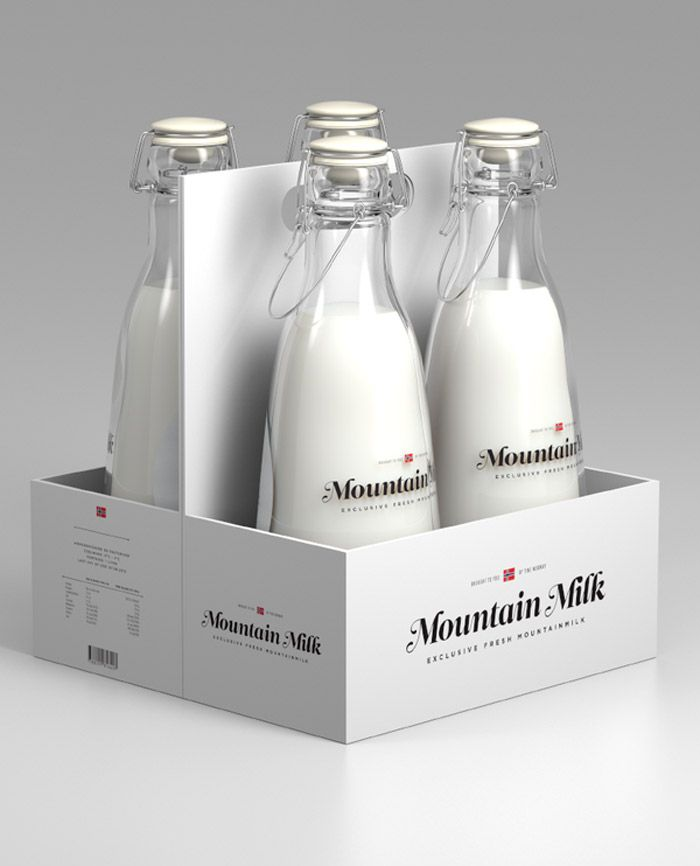 "Mountain Milk.     "" I love milk – so my choice of product was easy. How would a milk look like if it was exclusive was one of the questions I asked myself. I think this is how it should have looked if Norways biggest milk retailer launched a milk to be sold internationally. ""    Deisigned by Anders Drage"