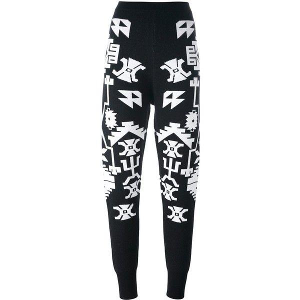 Marcelo Burlon County Of Milan 'Longavi' trousers (905 BRL) ❤ liked on Polyvore featuring pants, black, elastic waist pants, wool pants, elastic-cuff pants, aztec pants and wool trousers