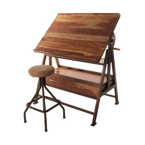 Iron Wood Drafting Table ($1,000) ❤ liked on Polyvore featuring home, furniture, tables, accent tables, wooden drafting table, iron table, wood accent table, wooden table and vintage style furniture
