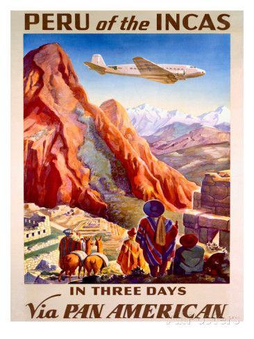 Découvrez le Pérou des Incas en trois jours avec Pan American - Affiche de voyage vintage Posters sur AllPosters.fr