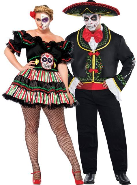 plus size day of the dead couples costumes party city couple