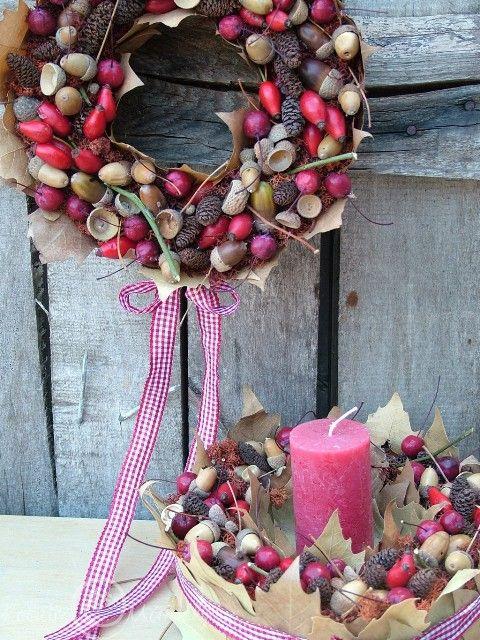 Collection with rosehips / Őszi dekoráció ajtódísz és asztaldísz csipkebogyókkal