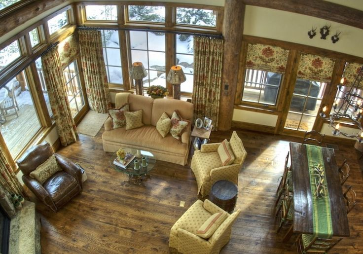 Drapes hung on transom windows that still let the light in! <3: Transom Windows, Natural Light, Mountain Cabins, Window Glamour, Floor Colors, Cabins Mountain, Floors Colors, Cabins Feelings, Window Treatments