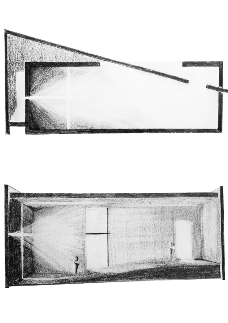 sketches representing the intensity and composition of Natural light - Church of Light - Tadao Ando