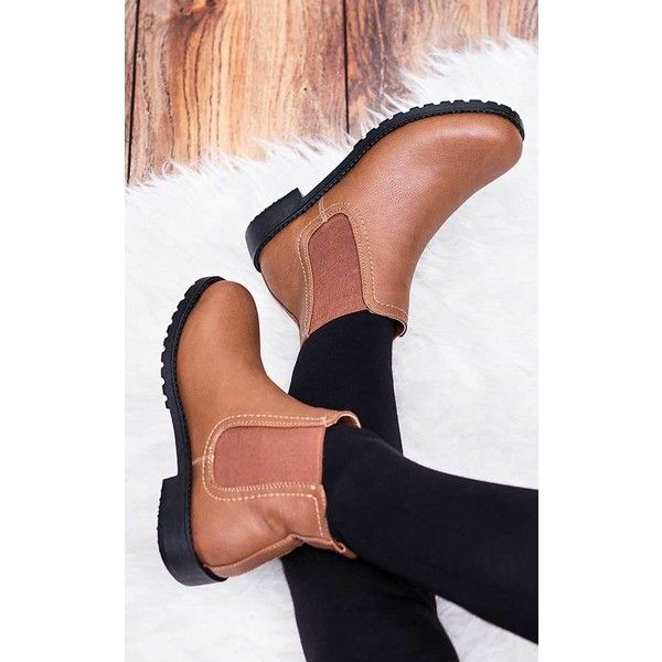 Spy Love Buy Calisy Flat Cleated Sole Chelsea Ankle Boots - Tan... ($27) ❤ liked on Polyvore featuring shoes, boots, ankle booties, brown, brown boots, brown leather ankle booties, brown booties, flat booties and brown leather bootie