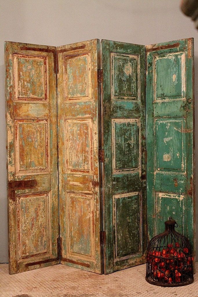 Antique Multi Color Indian Four Panel Screen Wood Room Divider Door Headboard