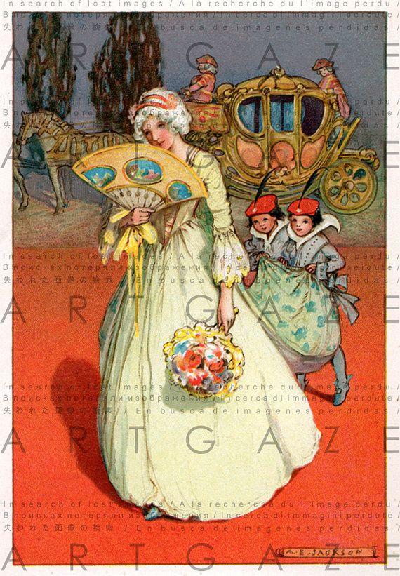 Sublime Rare Art Deco Cinderela Illustration Digital by Artgaze