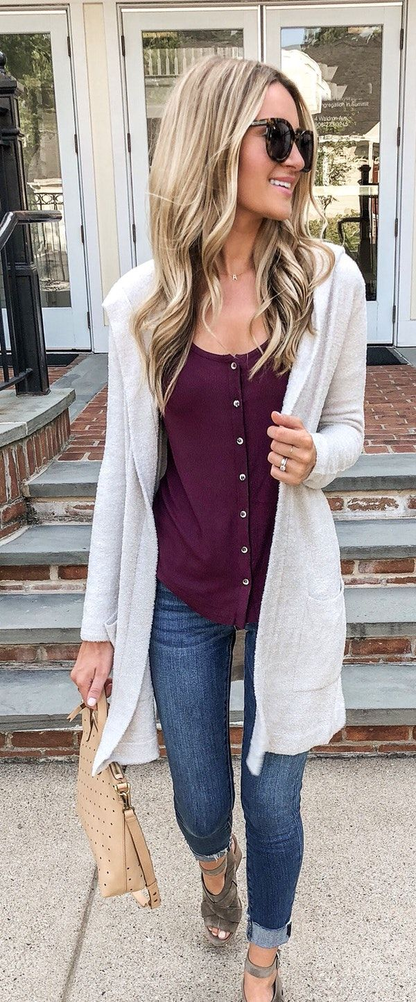 #fall #outfits white open cardigan.