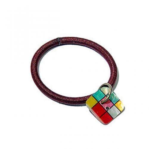 Colourful Checker Shell Button Hair Tie