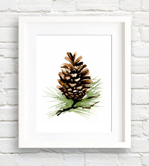 Pinecone Watercolor Art Print Wall Decor by EveryDayShenanigans