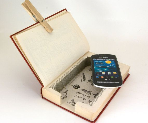 Cell Phone Charging Station - Hollow Book Safe - Vintage Encyclopedia