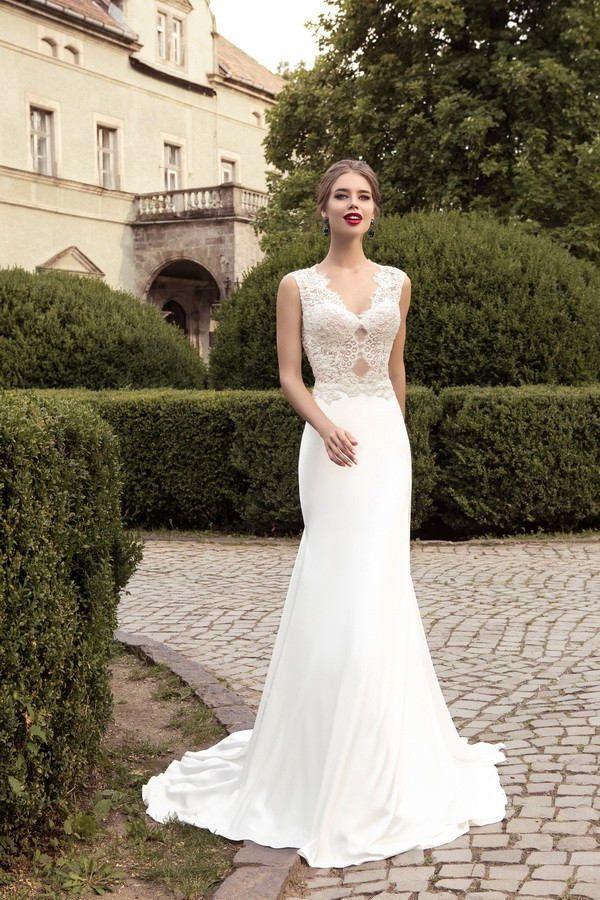 Wishesbridal Backless V Neck #Lace Trumpet Mermaid #WeddingDress Ace0005