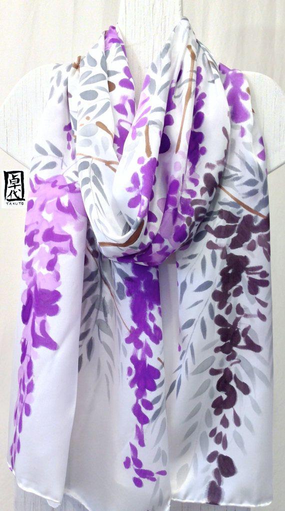 Hand Painted Silk Shawl Purple Floral Scarf por SilkScarvesTakuyo, $225.00
