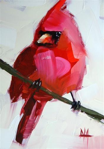 """""""Cardinal no. 22 Painting"""" - Original Fine Art for Sale - © Angela Moulton"""