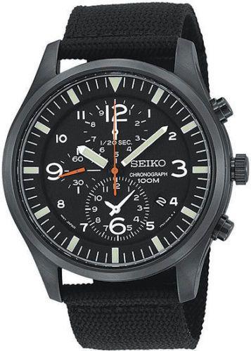 New Seiko Men's SNDA65 Black Chronograph Big Military Canvas Strap 100M Watch 029665148865 | eBay