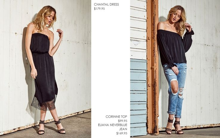 CHANTAL LACE DRESS  AND  CORINNE TOP WITH ELIANA DESTROYED BOYFRIEND JEAN
