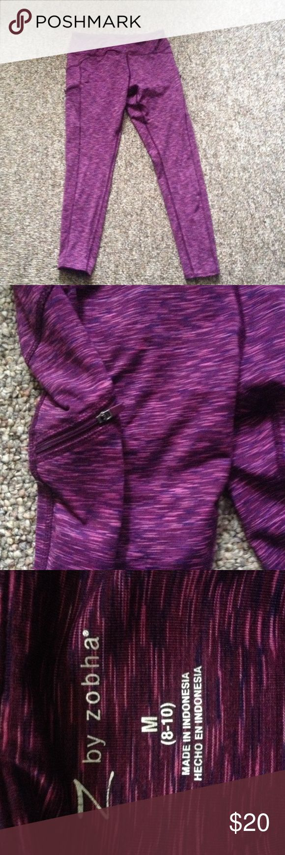 🆕listing! Gorgeous yoga skinny pants Pretty plum and purple shades! Size 8-10 form fitting and adorable like new! Zippered pockets and stretchy perfect for a good workout Zobha Pants Track Pants & Joggers