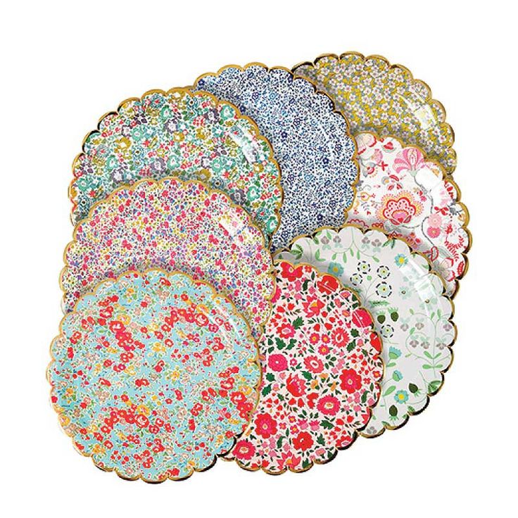 Liberty Large Plates (8), Meri Meri Liberty Paper Plate Assortment, 9x9 Floral Paper Plate with Gold Scallop Edge, Floral Wedding Decor by CrankyCakesShop on Etsy https://www.etsy.com/listing/503584699/liberty-large-plates-8-meri-meri-liberty