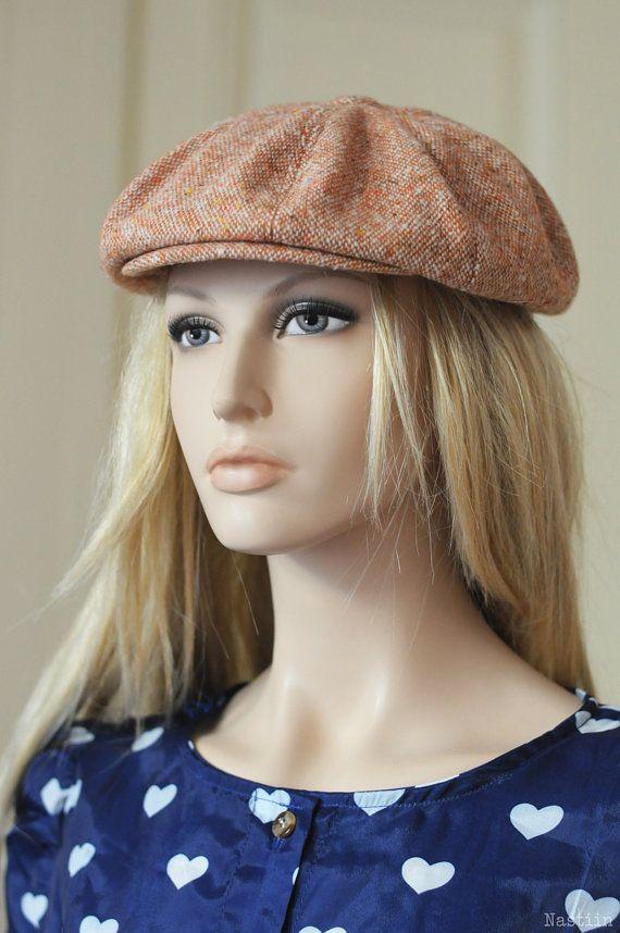 Womens newsboy hat Mens newsboy cap Girls newsboy hat Boys grey tweed hat Paper boy hat Peaky Blinders hat Drivers hat Orange hat Girls hat