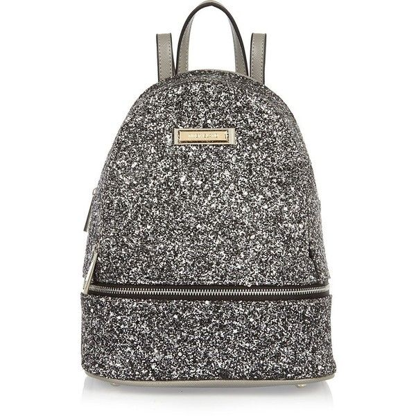 River Island Silver glitter mini backpack (£10) ❤ liked on Polyvore featuring bags, backpacks, backpack, river island, mini bag, silver bag, strap bag, silver backpacks and silver glitter bag