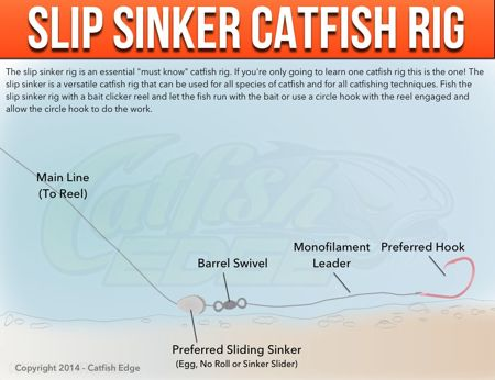 """The slip sinker rig is what many consider to be one of the best catfish rigs for a variety of techniques and catfish species. The """"must know"""" catfishing rig"""