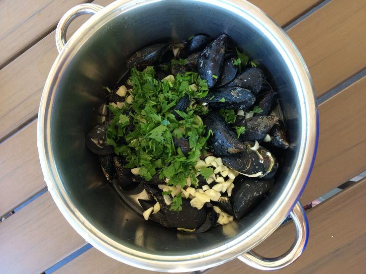 Supper for today evening - mussels with white wine, garlic,