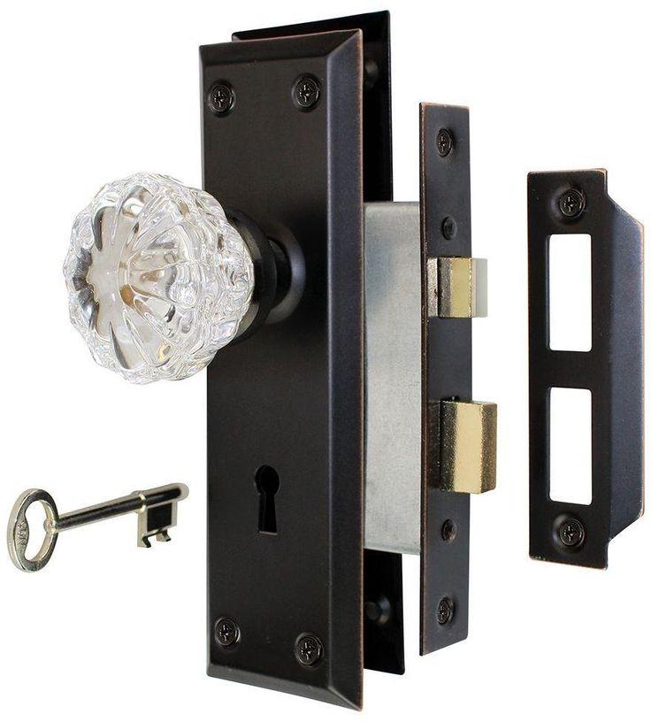 Antique Door Knob Interior Glass Handle Mortise Lock Bronze 2 Keys Included  #AntiqueDoorKnob
