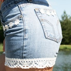 Turn your old pair of jeans into cute summer shorts with a pair of scissors and some lace!