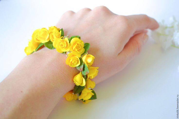"""Купить Браслет """"Желтые розы"""" - желтый, ярко желтый, розы, ручная работа, браслет с розами"""