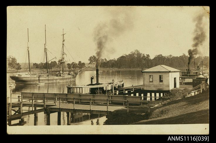 Photographic postcard of the wharf at Clarence River, Grafton, with a three masted barquentine and ferries (1915-1917) | Flickr
