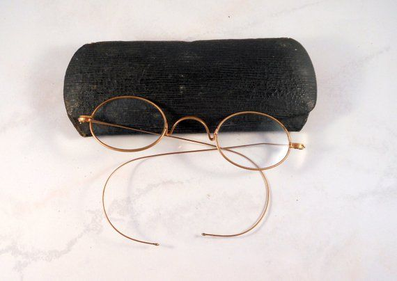 11c0fba19862 Vintage Wire Rimmed Reading Glasses Get that very vintage look in the  glasses you need to read. Wonderful old wire rimmed glasses with wrap  around ear ...