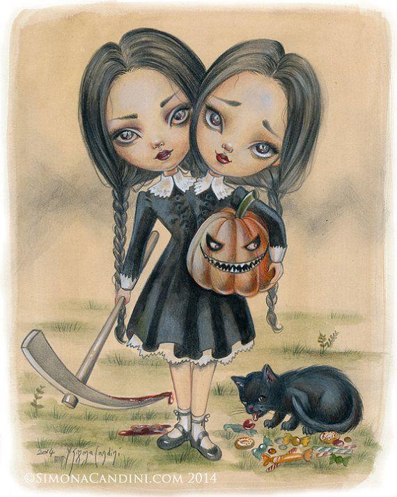 Double Trouble à tirage limité signé numéroté Simona Candini Mercredi Addams Halloween effrayant jumeaux pop surréaliste lowbrow art gothique