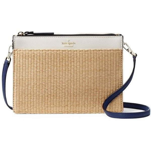 Kate Spade New York Women's Clarise Woven Leather Crossbody Purse (€69) ❤ liked on Polyvore featuring bags, handbags, shoulder bags, white navy, crossbody shoulder bag, man bag, pink cross body purse, pink shoulder bag and purse crossbody