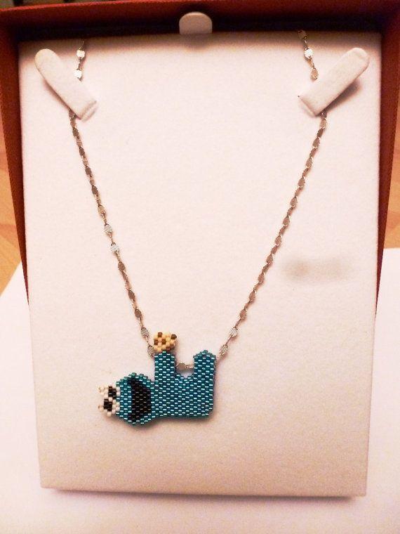 Cookie monster beaded pendant by BijouxSese on Etsy