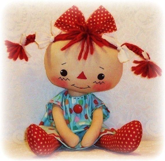 PATRÓN de muñeca de trapo, PDF del patrón, coser, patrón de muñeca de tela, primitivo, raggedy ann, annie, instant download, descarga digital