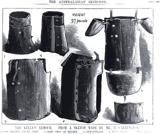 Sketch of Ned Kelly's armour from 1880