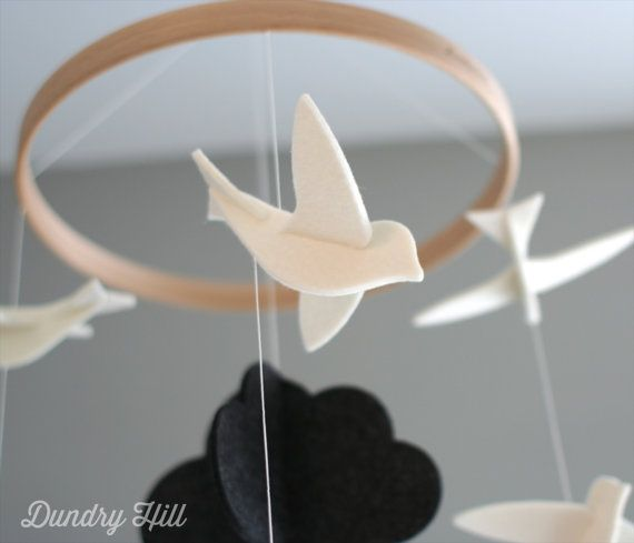 Bird Mobile  White Birds with Dark Cloud  Felt by dundryhill, $49.00