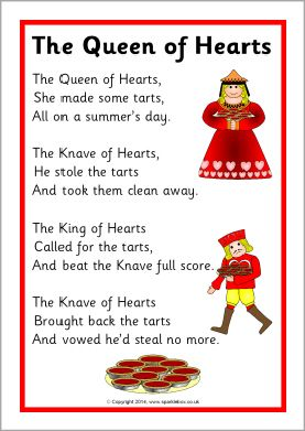 The Queen of Hearts rhyme sheet (SB10935) - SparkleBox